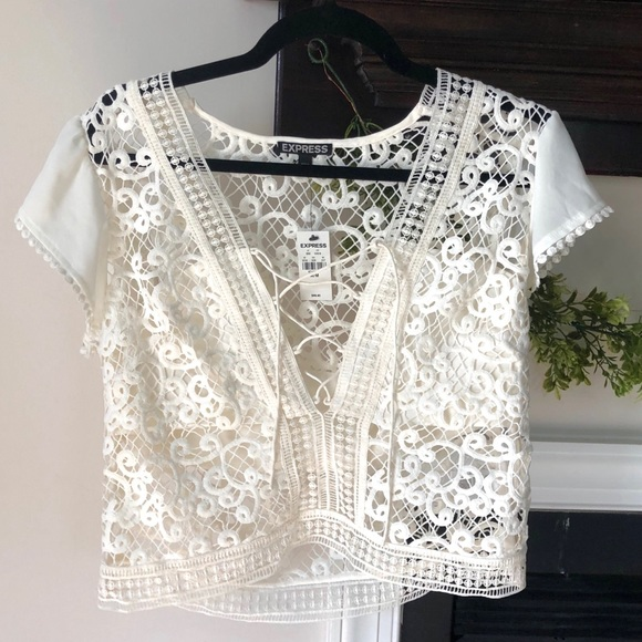 Express Tops - Crocheted Detail Ivory Top